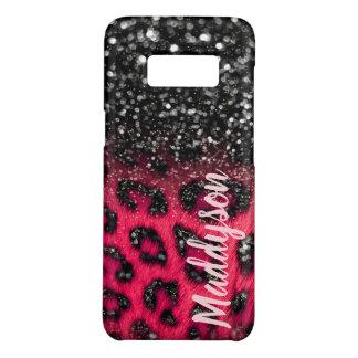 模造のなピンクの黒いグリッターのヒョウは10代のな女の子に斑点を付けます Case-Mate SAMSUNG GALAXY S8ケース