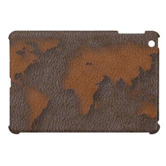 模造のなブラウンの革世界地図のiPad Miniケースカバー iPad Miniケース