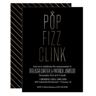 模造のなホイルのポップ・アートのなフィズのClinkの婚約パーティ 12.7 X 17.8 インビテーションカード