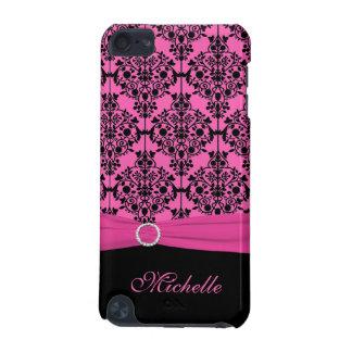 模造のなリボンipod touchが付いているピンクおよび黒いダマスク織 iPod touch 5G ケース