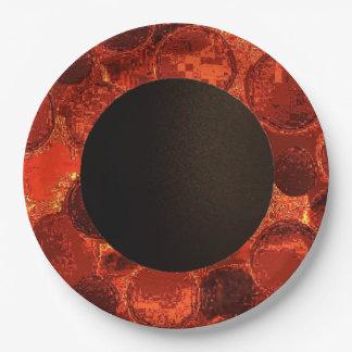 模造のな円の紙によってプレート燃やされるオレンジデザイン2 ペーパープレート