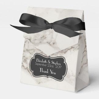 模造のな大理石のアラバスターの暗灰色のタンの結婚式の感謝 フェイバーボックス
