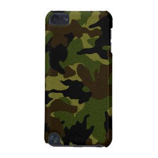 模造のな布の緑の迷彩柄の堅いiPhoneケースと6 6S iPod Touch 5G ケース