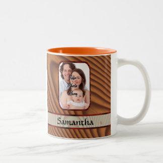 模造のな木の名前入りな写真 ツートーンマグカップ