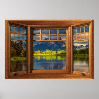 模造のな木の弓窓の錯覚-山場面 ポスター