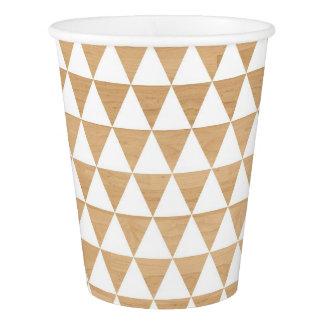 模造のな木製の素朴の白い三角形パターン 紙コップ