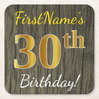 模造のな木、模造のな金ゴールドの第30誕生日 + 名前をカスタムする スクエアペーパーコースター