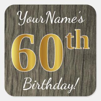 模造のな木、模造のな金ゴールドの第60誕生日 + 名前をカスタムする スクエアシール