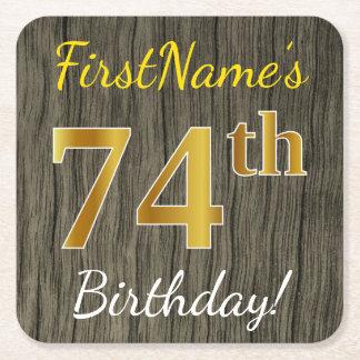 模造のな木、模造のな金ゴールドの第74誕生日 + 名前をカスタムする スクエアペーパーコースター