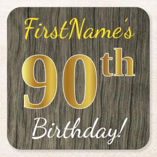 模造のな木、模造のな金ゴールドの第90誕生日 + 名前をカスタムする スクエアペーパーコースター