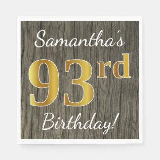 模造のな木、模造のな金ゴールドの第93誕生日 + 名前をカスタムする スタンダードランチョンナプキン