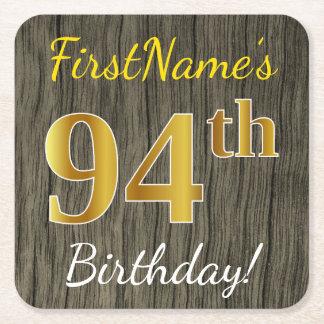 模造のな木、模造のな金ゴールドの第94誕生日 + 名前をカスタムする スクエアペーパーコースター