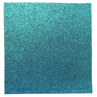 模造のな水のティール(緑がかった色)の青緑のグリッターの背景 ナプキンクロス