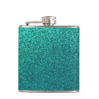 模造のな水のティール(緑がかった色)の青緑のグリッターの背景S フラスク