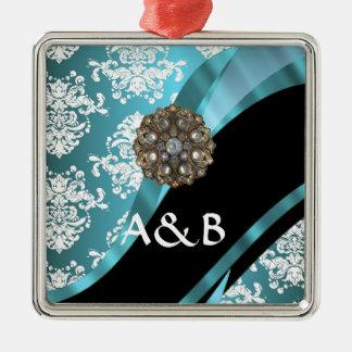 模造のな水晶宝石が付いている水及び白いダマスク織 メタルオーナメント