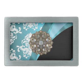 模造のな水晶宝石が付いている水及び白いダマスク織 長方形ベルトバックル