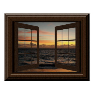 模造のな窓ポスター平和な日没のリラックス ポスター