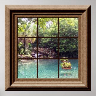 模造のな窓ポスター平和な水庭の禅 ポスター
