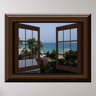 模造のな窓ポスター熱帯平和な海場面 ポスター