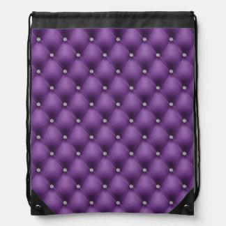 模造のな紫色によってキルトにされる革、diamante ナップサック