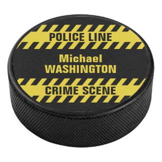 模造のな警察の警戒線カスタムな文字のアイスホッケー用パック アイスホッケーパック