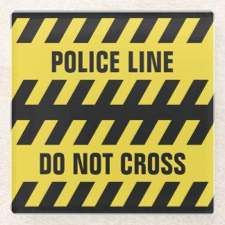 模造のな警察の警戒線カスタムな文字ガラスのコースター ガラスコースター