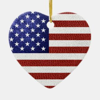 模造のな赤白青の革米国の旗 セラミックオーナメント