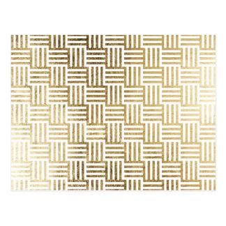 模造のな金ぱくのストライプのな点検パターン ポストカード