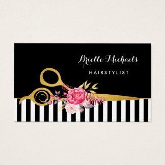 模造のな金ゴールドのはさみのストライプのピンクの花のヘアーサロン 名刺