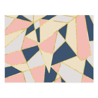 模造のな金ゴールドのガーリーで幾何学的な三角形 ポストカード