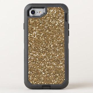 模造のな金ゴールドのグリッターのきらきら光るな7匹のクローバーのotterbox オッターボックスディフェンダーiPhone 8/7 ケース