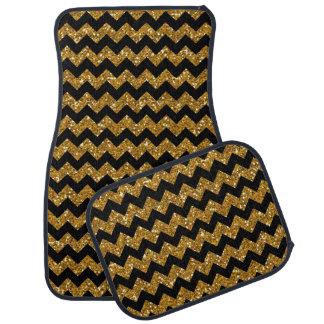 模造のな金ゴールドのグリッターのシェブロンパターン黒の固体Colo カーマット