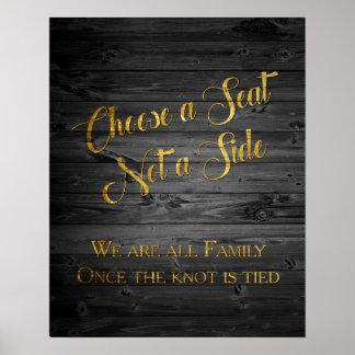 模造のな金ゴールドのグリッターの紙吹雪の結婚式の座席の印 ポスター
