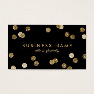模造のな金ゴールドのグリッターの紙吹雪の黒の名刺 名刺