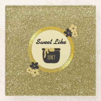 模造のな金ゴールドのグリッターの菓子は蜂蜜を好みます ガラスコースター