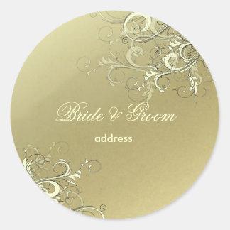 模造のな金ゴールドのバニラ渦巻の結婚式用シール ラウンドシール