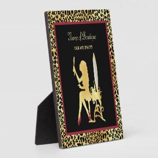 模造のな金ゴールドのヒョウのプリントの女性の毛のブティックの印 フォトプラーク