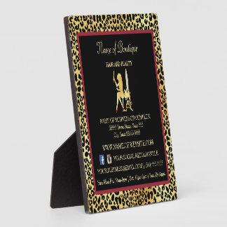 模造のな金ゴールドのヒョウの毛のブティック情報印 フォトプラーク