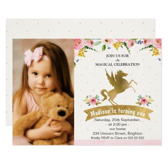 模造のな金ゴールドのユニコーンの写真の誕生日の招待状 カード