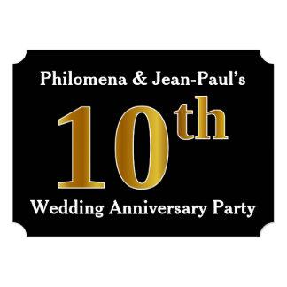 模造のな金ゴールドの一見の第10結婚記念日のパーティー カード