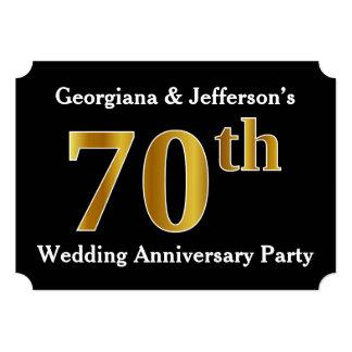模造のな金ゴールドの一見第70の結婚記念日のパーティー カード