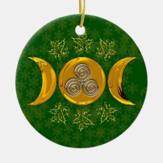 模造のな金ゴールドの三倍の月及び銀製の三重の螺線形ヒイラギ セラミックオーナメント