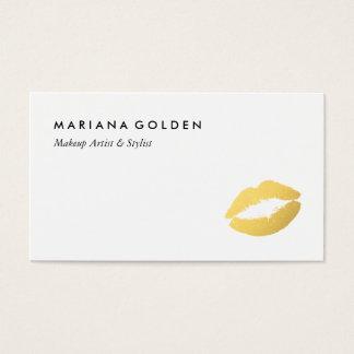 模造のな金ゴールドの唇のメーキャップアーティストのスタイリストの名刺 名刺