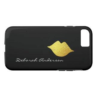 模造のな金ゴールドの唇 + 名前(原稿のフォントスタイル)の黒 iPhone 8/7ケース