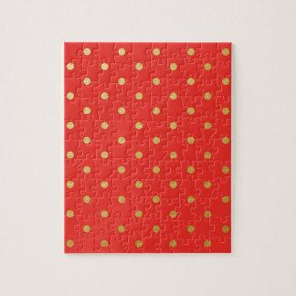 模造のな金ゴールドの水玉模様の赤い金属 ジグソーパズル