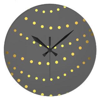 模造のな金ゴールドの水玉模様ライトひもの時計 ラージ壁時計