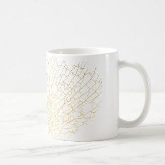 模造のな金ゴールドの海ファンの海の珊瑚の白いマグ コーヒーマグカップ