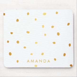 模造のな金ゴールドの点の点は加えますあなたの名前を個人化なります マウスパッド