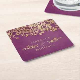 模造のな金ゴールドの紫色のエレガントなヴィンテージのレースの結婚式 スクエアペーパーコースター