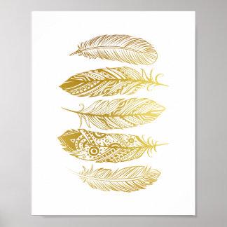 模造のな金ゴールドの羽の種族のプリントポスター ポスター
